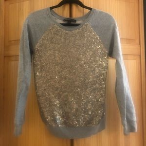 Gray gold sequin embroidered sweater Elizabeth&J